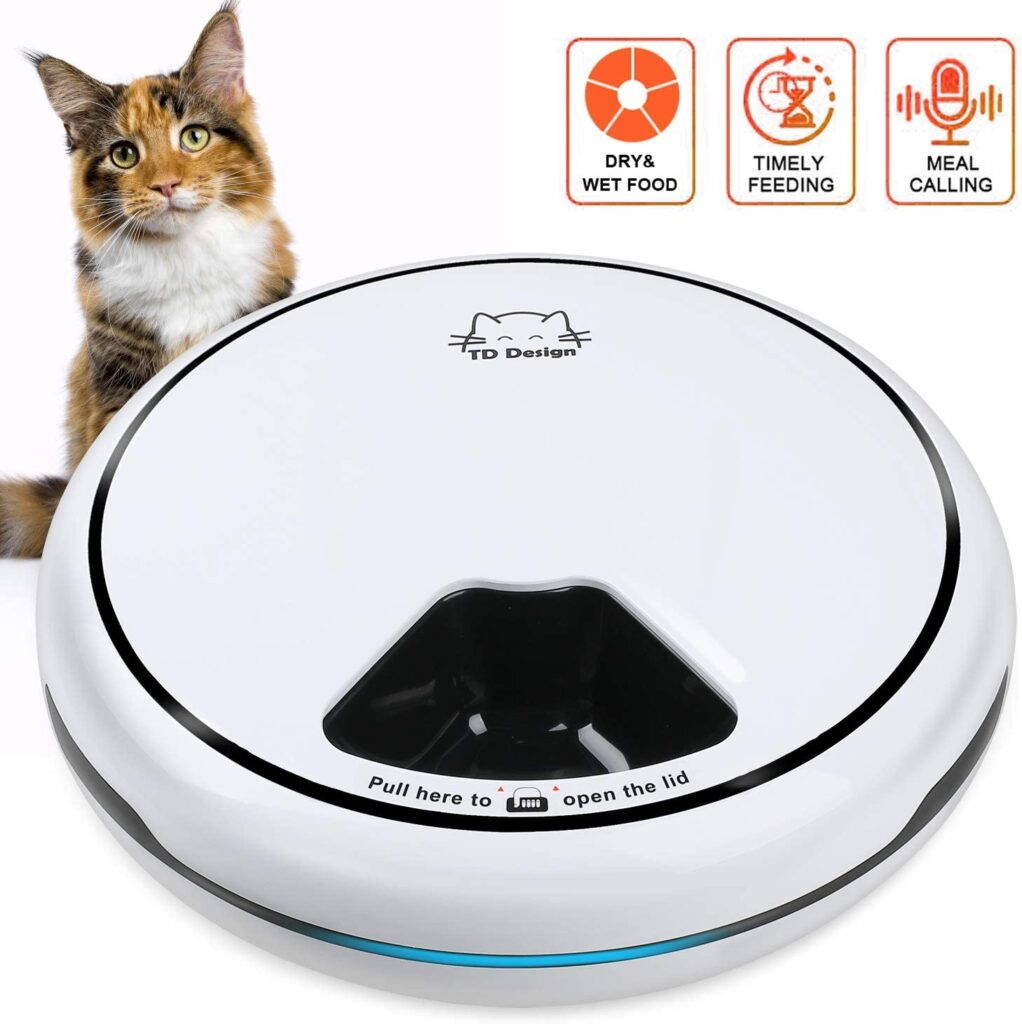 TDYNASTY-DESIGN-5-Meal-Automatic-Cat-Feeder-Cat-Dog-Trays-Dry-Wet-Food-Dispenser-1